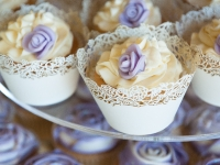 Rum Wedding Cupcakes with Handmade Fondant Roses