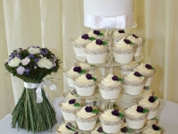 Wedding Cupcake Tower and Top Tier Cake