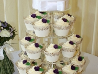 Sarah and Tim's Wedding Cupcake Tower with Top Tier Cutting Cake