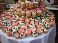 Coral & Grey Rose Wedding Cupcakes