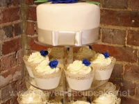 Stephanie and Brett's Ivory and Blue Wedding Cupcake