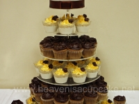 Gold Vanilla and Chocolate Wedding Cupcake Tower