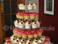 Ivory and Burgundy Wedding Cupcake Tower
