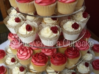 Ivory and Burgundy Rose Wedding Cupcakes