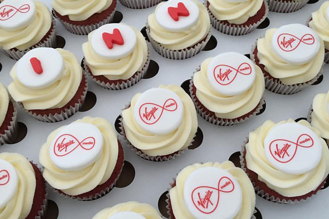 Virgin media branded cupcakes