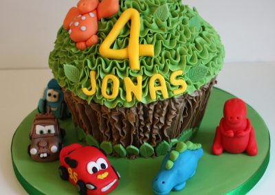 Dinosaur and Cars Giant Cupcake