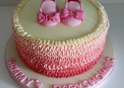 pink shoes baby shower cake