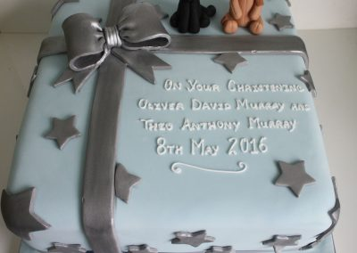 silver parcel christening cake